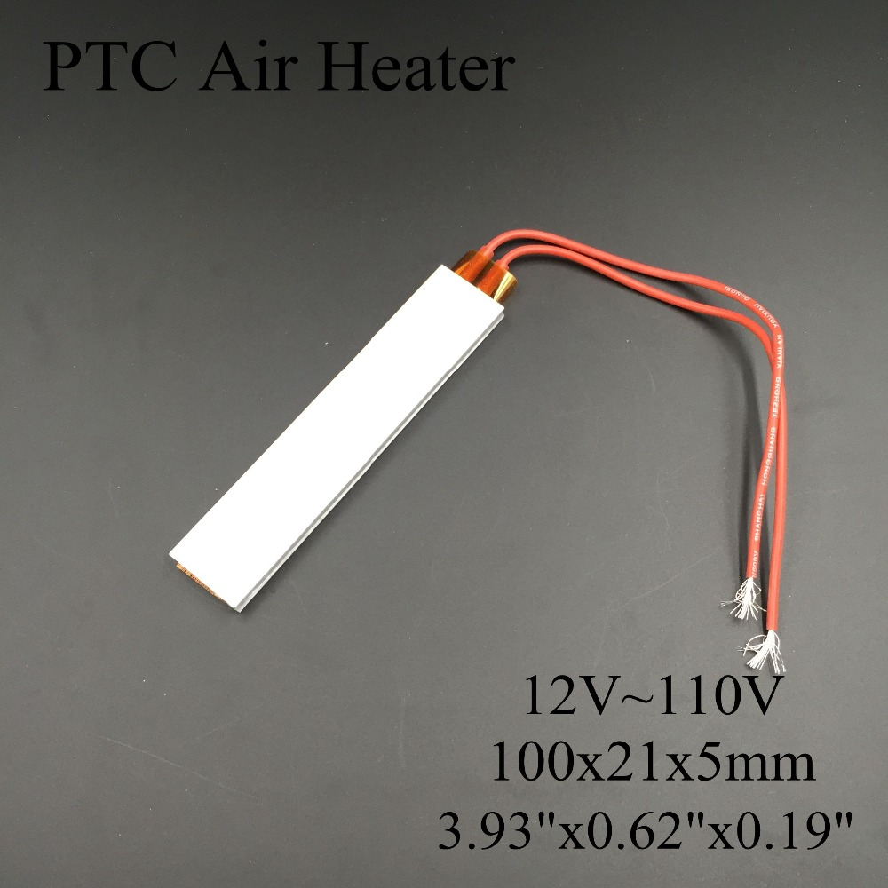 (5 pieces/lot) 12V/24V/36V/48V/110V 100x21x5mm PTC Thermostat Aluminum Heating Element Ceramic Air Heater Plate Chips Incubator dia 400mm 900w 120v 3m ntc 100k round tank silicone heater huge 3d printer build plate heated bed electric heating plate element