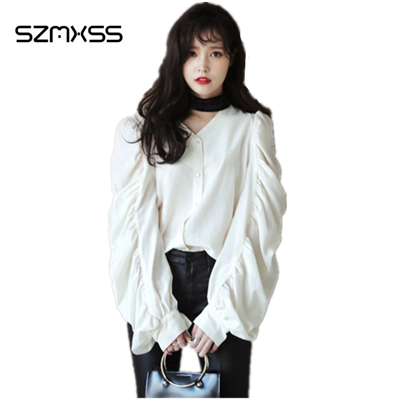2017 Spring New Women Long Sleeve Shirts Cotton Chiffon Blouse Solid Folded Puff Sleeve With Scarf Causal Tops Women Clothing