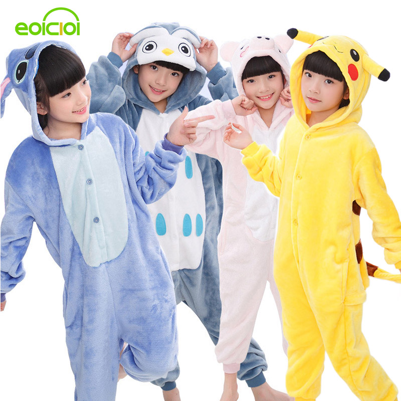 EOICIOI New Flannel Kids Pajamas Animal Unicorn Stitch Pikachu Cosplay Onesies Children Sleepwear For Boys Girls Pyjamas Hooded(China)