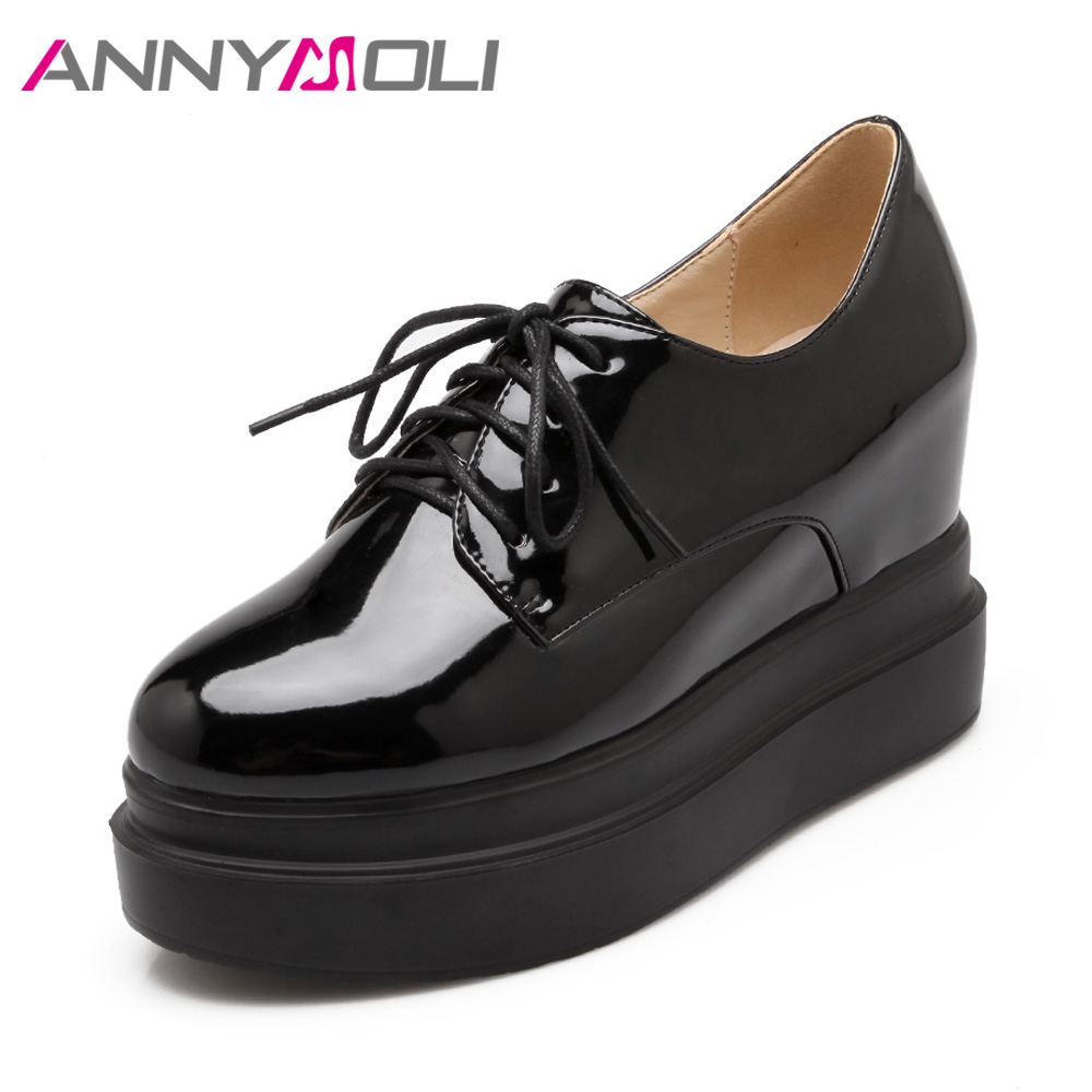 ANNYMOLI Spring Shoes Women High Heels Shoes Increasing Platform Wedges Heel Pumps Patent Leather Lace Up Round Toe Ladies Shoes genuine cow leather spring shoes wedges soft outsole womens casual platform shoes high heel round toe handmade shoes for women