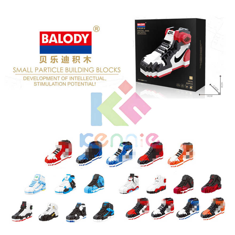 20different sport Basketball shoes  air jordan brick aj XI XIII III assemable model diamond building block toy collection