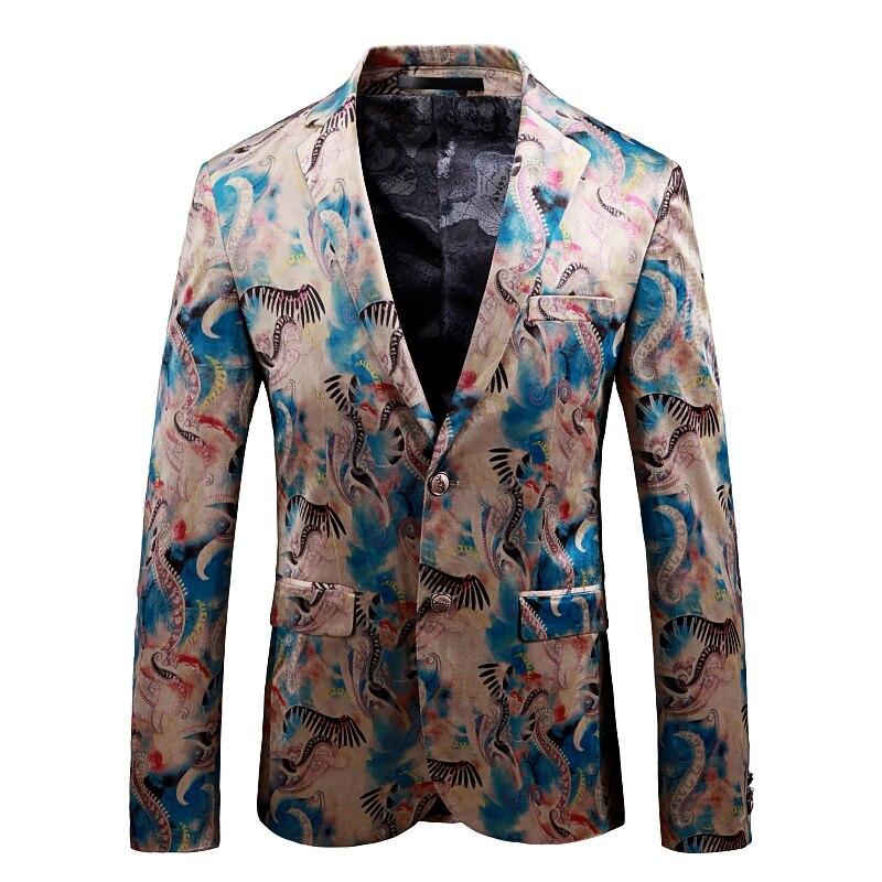 Осенний мужской костюм куртка с длинным рукавом Азия размер S-5XL Высокое качество Мужские спортивные пиджаки 2019 тонкий дизайн цветок пальто ...
