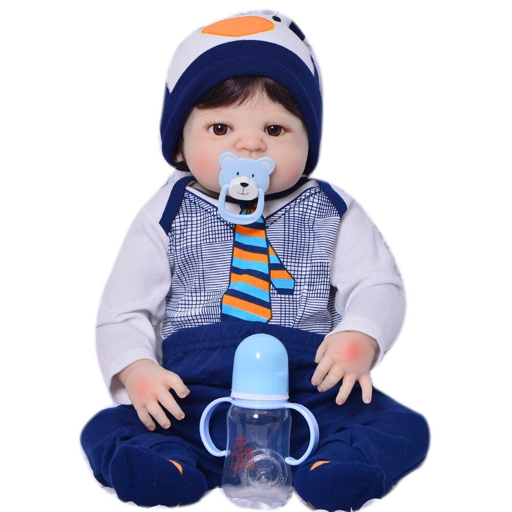 23 Full тела силиконовые возрождается для маленьких мальчиков куклы каштановые волосы парик магнитного рот куклы для детей подарок Bebe жив ... - 6
