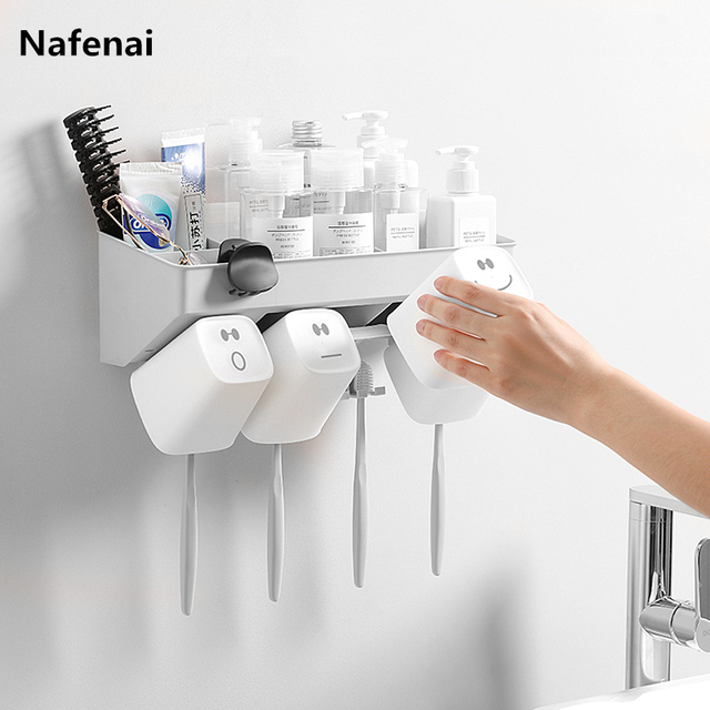 Plastic Toothbrush Holder Toothpaste Storage Rack Shaver Tooth Brush Dispenser Bathroom Organizer Accessories Tools