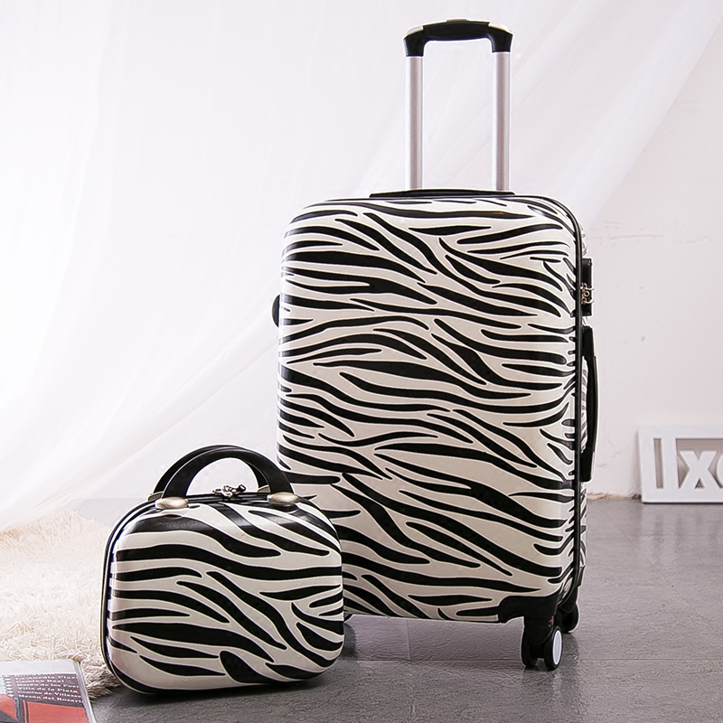 Letrend Zebra Suitcases Wheel Trolley Rolling Luggage Spinner 24 inch Travel Bag 20 inch Student password Carry on Luggage Set 14 20 24 inch women vintage rolling luggage sets pu travel suitcases universal wheel spinner trolley bags suitcase for girls bag