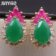 Luxury Fashion Jewelry Full Gem Emerald&Ruby Lace Zircon Waterdrop Gold Plated Earrings 2colors