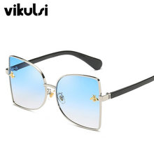 Trend New Brand Little Bee Square Fashion Designer Sunglasses Unisex Metal Frames Gradient Oversized Sun Glasses Women Luxury(China)