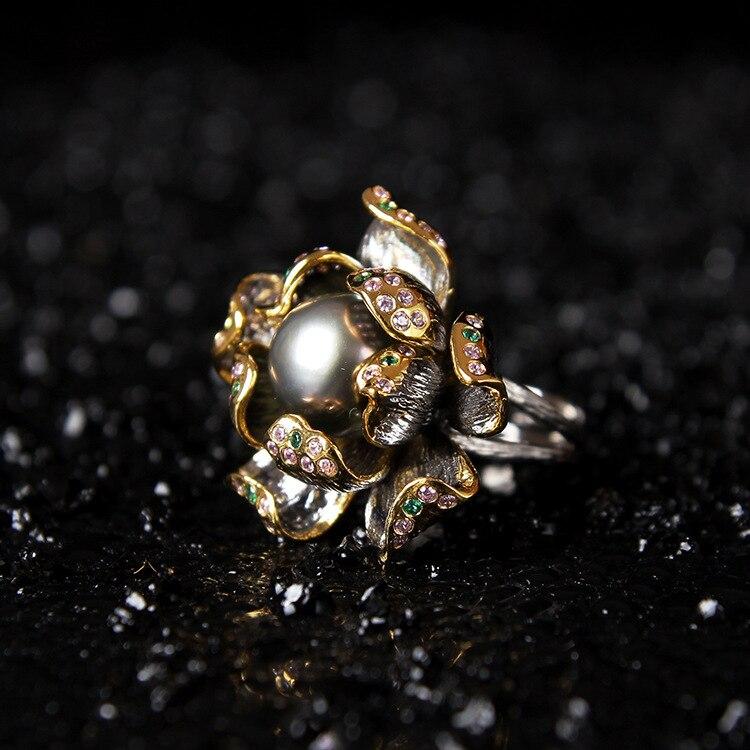 Восстановление древних способов для Италии технология оригинальный натуральный черный кольцо с цветком и жемчужиной, 925 украшение ручной р