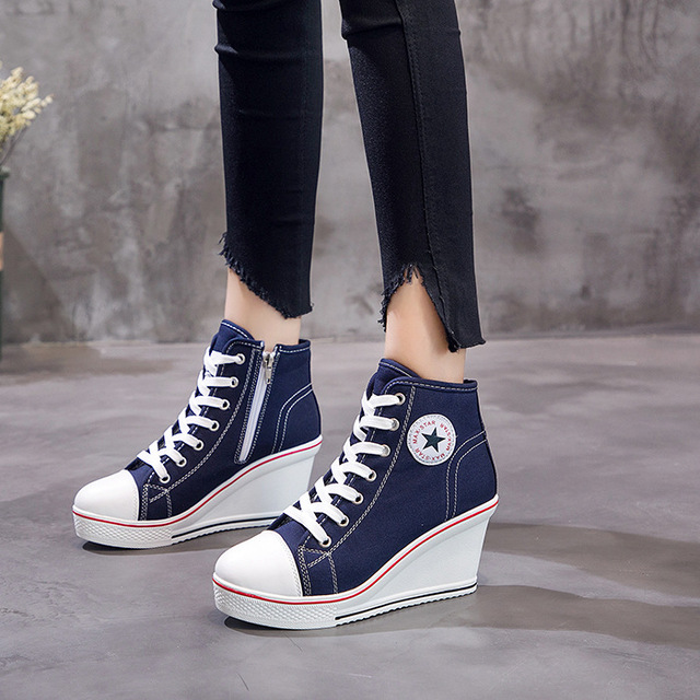 ee7db5e48bdef US $28.58 30% OFF|2019 Fashion Women Shoes Wedge Sneakers High Top Platform  Shoes Woman Female Casual Elevator High Heels Canvas Shoes Plus Size-in ...