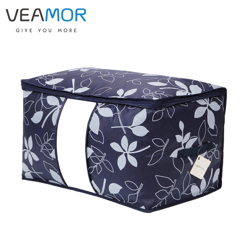 VEAMOR Clothes Quilts Storage Bags Space Saver Flowers Printed Non-woven Blanket Bantal Penyimpanan Beg Penyokong dengan Tetingkap