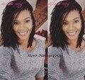 Synthetic lace front wig black short bob box braid heat resistant fiber short hair for africa american black women