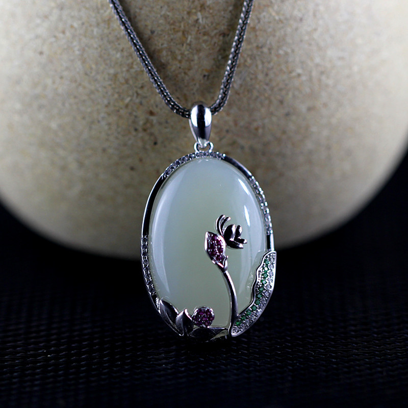 New and Tian Yu hot selling styles of women's S925 and nephrite pendant jewelry free shipping цена