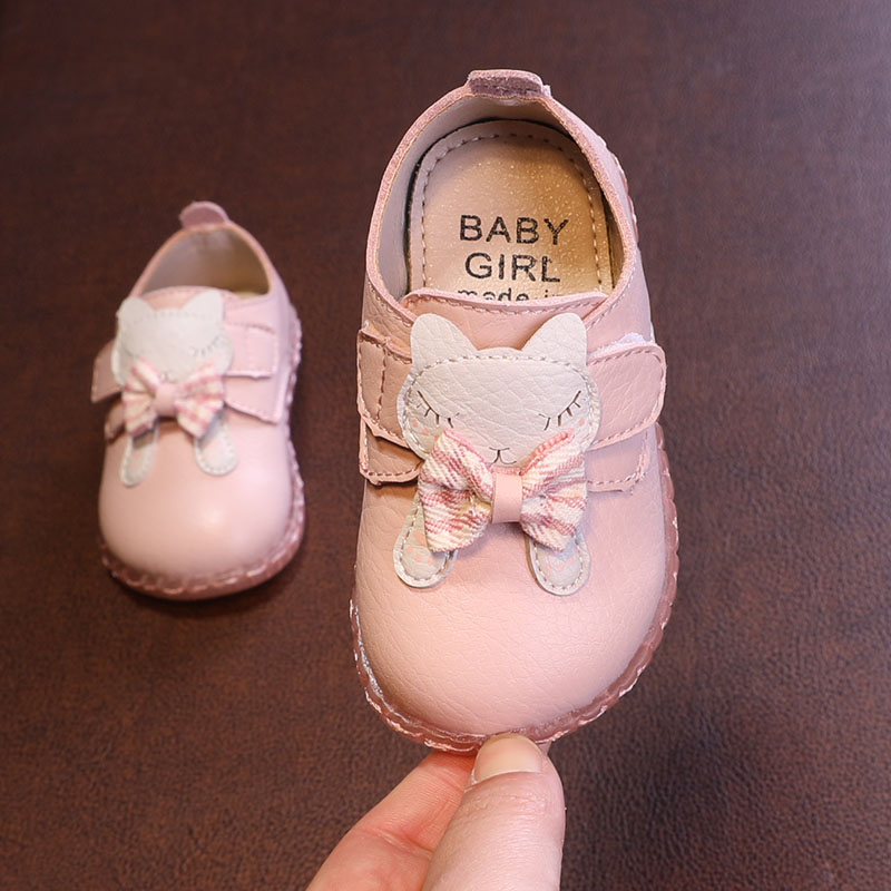 Cartoon Soft Bottom Leather Shoes Girls Baby Toddler Shoes Bowtie Spring Princess Shoes