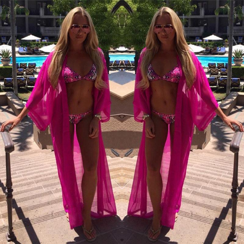 2017 Female New Design Hot Sale Sexy Women Chiffon Wrap Dress Sarong Pareo Beachwear Bikini Swimwear Cover Up Scarf