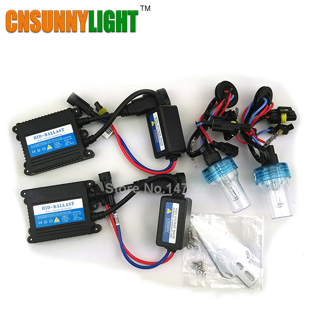 CNSUNNYLIGHT Xenon Hid Conversion Kit 35W H1 H3 H7 H8 H10 H11 H9 9005 9006 HB3 HB4 Lamp w Slim Ballast Block for Car Headlight