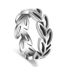 100% 925 sterling silver vintage thai silver leaf flower girl finger rings jewelry women party ring birthday gift drop shipping rhinestoned flower leaf finger ring