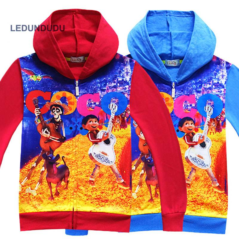 2017 Cartoon Movie Coco Cosplay Costumes Kids Boys Miguel Hoodies Day Of The Dead Holiday Print Children Cardigan Coat