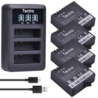 Tectra 4Pcs AZ16 1 1400mAh Li Ion Battery For Xiaomi Yi LED USB 3 Slot Charger