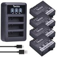 Tectra 4Pcs AZ16 1 1400mAh Li Ion Battery For Xiaomi Yi LED USB 3 Slot Charger