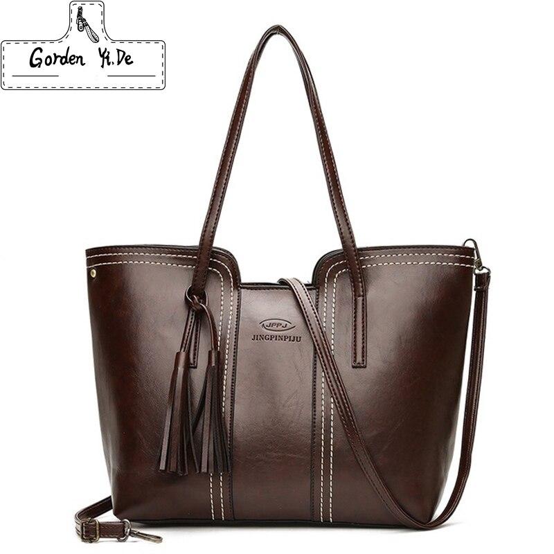 купить Women PU Leather Handbags Large Capacity Tassel Tote Bags Female Vintage Bag For Women Shoulder Bag Bolsos Mujer De Marca Famosa по цене 944.48 рублей
