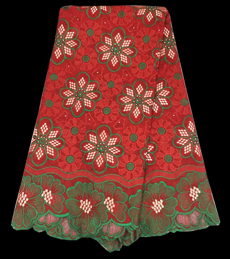 Livraison gratuite ( 5 metros   pc ) souple dentelle de coton africain  tissu en rouge avec vert broderie fantaisie dentelle voile suisse pour robe  CLS02-2 95e608ce164