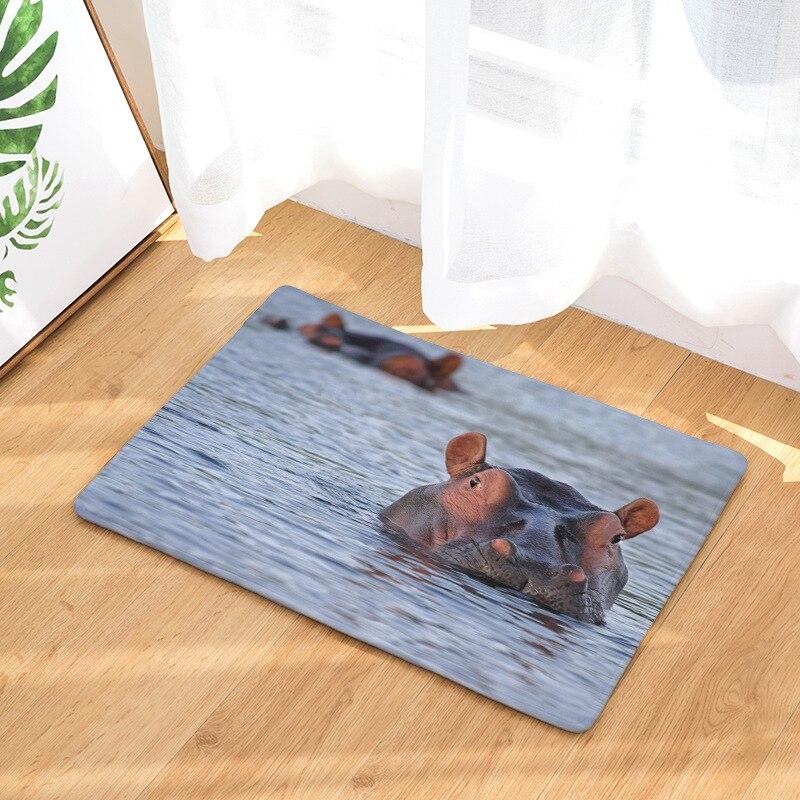 CAMMITEVER Hippopotamus Soft Anti-Skid Carpet Rug Living Bedroom Floor Mat Bedside Rug Bathroom Rug Kitchen Mat