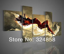 Handmade 5 Pcs Abstract Red Picture On Canvas Nude Women Oil Painting For Living Rroom Wall Art Free Shipping Modern Pictures