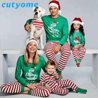 Christmas Pajamas Family Look Matching Outfits Mother Daughter Father Son Cotton Clothes Long Sleeve Striped Pyjamas