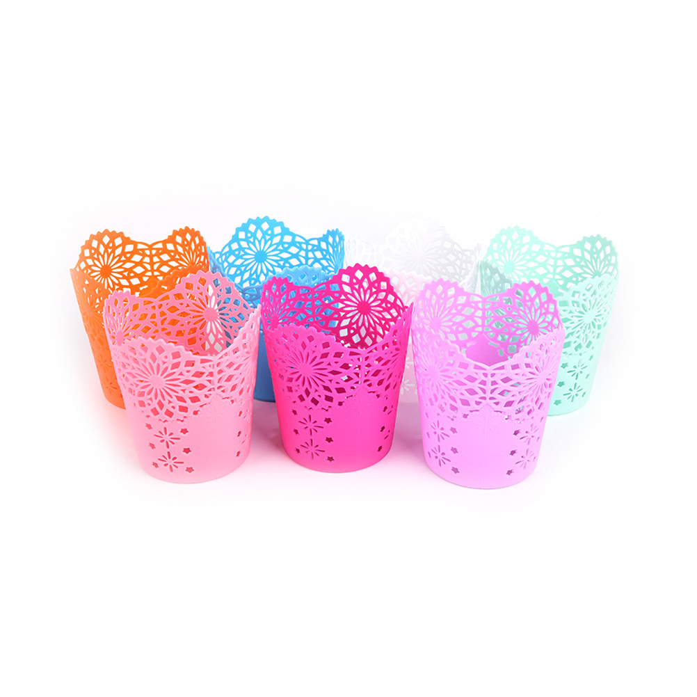 1 Pcs Storage Organizer Hollow Rose Flower Pen Case Pencil Stand Container Office School Stationary Round Pen Holders