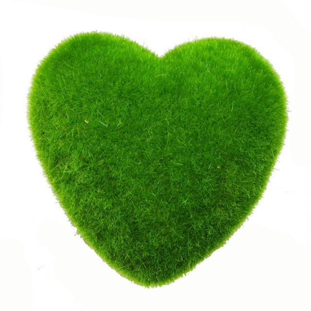 Decoration Moss Heart Shape Stone Artificial Grass Home Decor