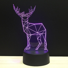 Line Art Deer Bucks LED 3D NightLight Acrylic Night Lamp Light Luminary With Touch And Remote Lamps Lights Kids Decoration GiC