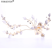 New Vintage Big Gold Color Flower Pearl Hair Comb Wedding Headdress Hair Jewelry Women Hairwear For