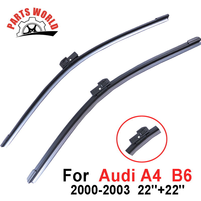 22''+22'' Pair Windscreen Front Wiper Blades For Audi A4  B6 2000-2003 Fit Natural Rubber Wipers Car Accessories