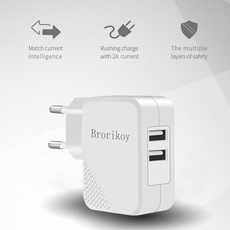 2 Port USB Wall Charger Untuk Perangkat iPhone iPad Samsung ios Micro - Aksesori dan suku cadang ponsel - Foto 6
