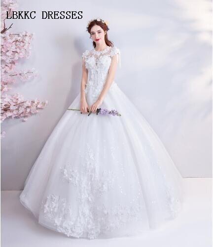 Scoop Wedding Dreses Cap Sleeveless A Line Floor Length Vestido De Noiva 2018 Robe Mariage Abito Da Sposa
