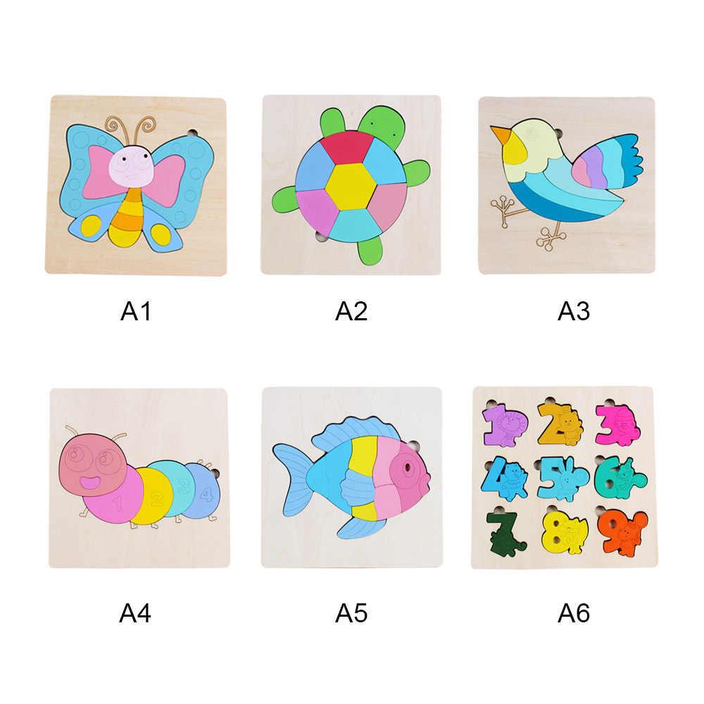 أطفال خشبية ثلاثية الأبعاد الكرتون لغز ألعاب خشبية للأطفال قطعة بازل على شكل حيوانات الذكاء لعبة تعليمية