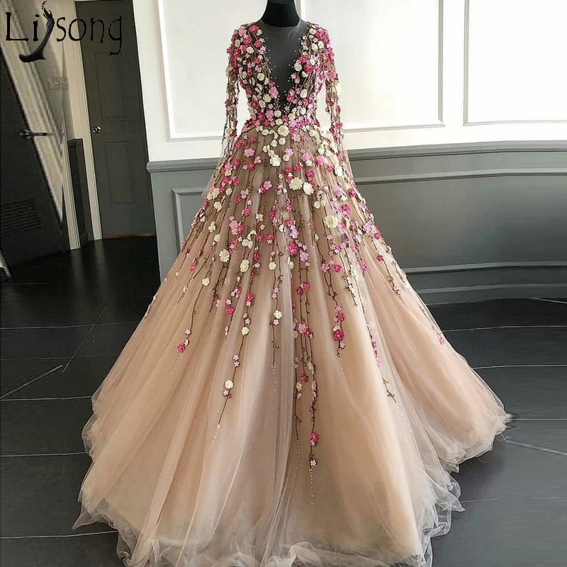 Fairy 3D Floral Flowers Long Prom Dresses Illusion Neckline Floor Length Champagne Tulle Long Sleeves Chic