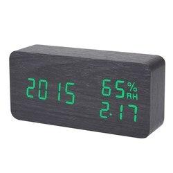 Electronic LED <font><b>Alarm</b></font> <font><b>Clock</b></font> Sound Voice Control <font><b>Light</b></font> <font><b>Digital</b></font> LED Time Humidity Display Wooden Desk <font><b>Alarm</b></font> <font><b>Clock</b></font>