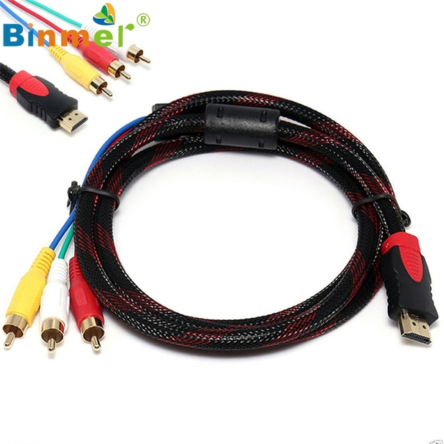 Binmer HDMI Male To 3 RCA AV Audio Video 5FT Cable Cord Adapter For TV HDTV DVD 1080p SZ0417#25