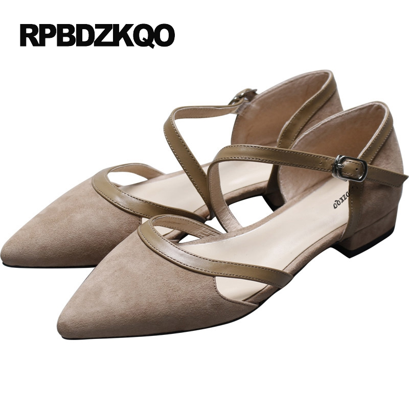 Pointed Toe Rubber Sole Casual Low Heel Nude Summer Sandals Size 34 Ladies Beautiful Flats Shoes Women European 2017 Suede Plain yiqitazer 2017 new summer slipony lofer womens shoes flats nice ladies dress pointed toe narrow casual shoes women loafers