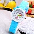 Cute Hello Kitty de Silicona de Dibujos Animados Relojes de Cristal Niñas Útiles Escolares Los Niños Relojes de Cuarzo Reloj de pulsera Relojes Deportivos