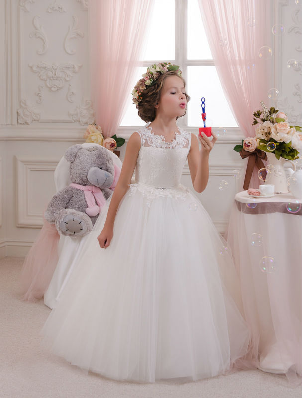 Lace Flower Girl Dresses Tulle Children Clothing Ball Gown Mother Daughter Wedding Dresses Sleeveless Mother Daughter Dresses children clothing mother
