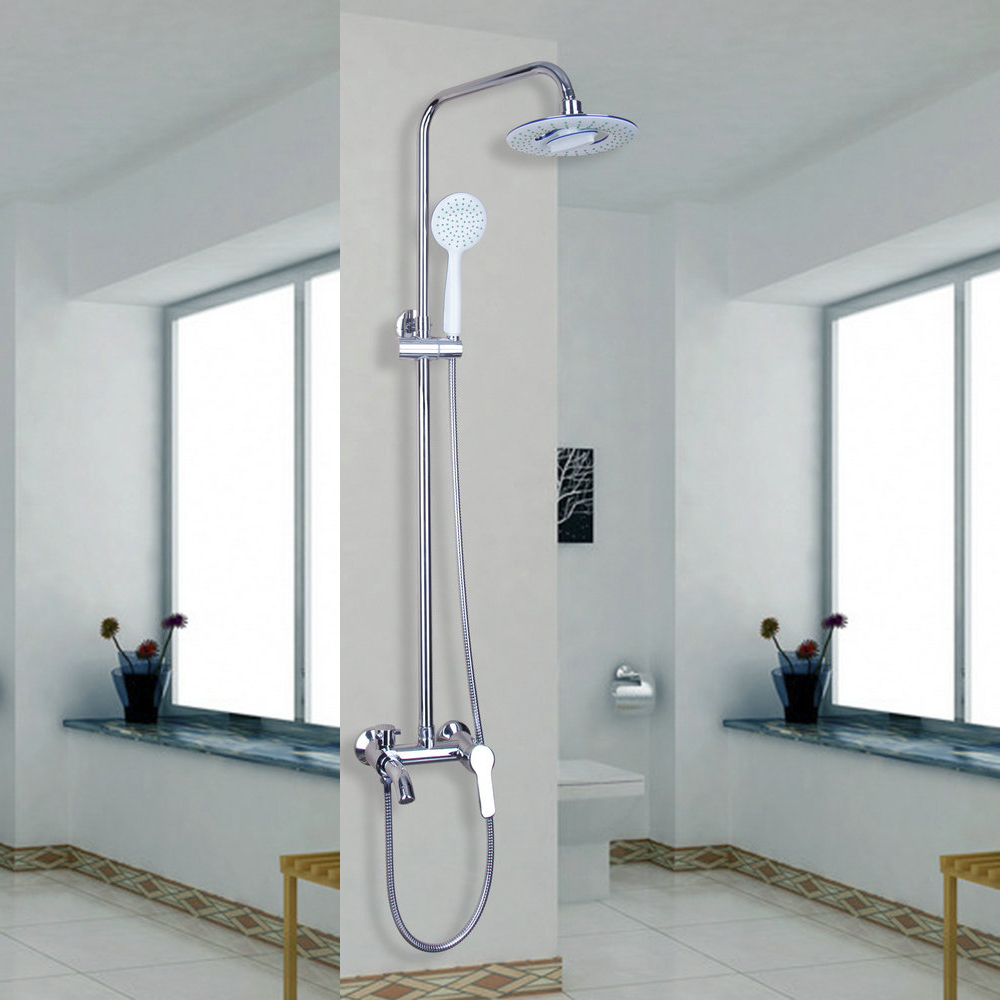 Classic Chrome Polished 8 Rain Shower Faucet Set Tub Mixer Tap with Hand Shower Shower Faucets