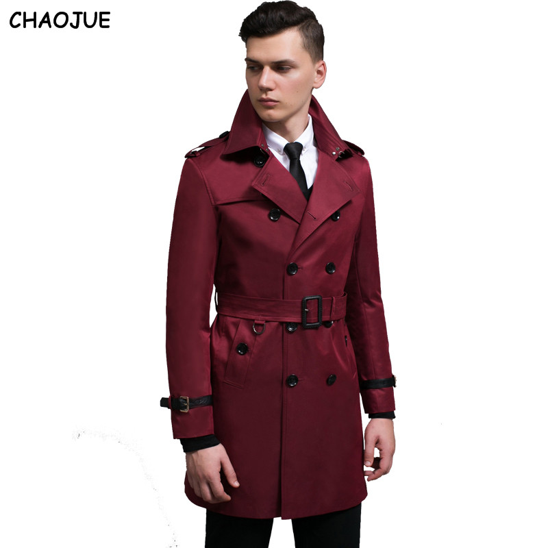 CHAOJUE Long sleeve coat   trench   male 2017 NEW PU patchwork fashion slim pea coat 6XL plus size man outerwear boyfriend coats