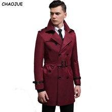 CHAOJUE langarm mantel graben männlichen 2017 NEUE PU patchwork mode schlank pea coat 6XL plus größe mann oberbekleidung freund mäntel