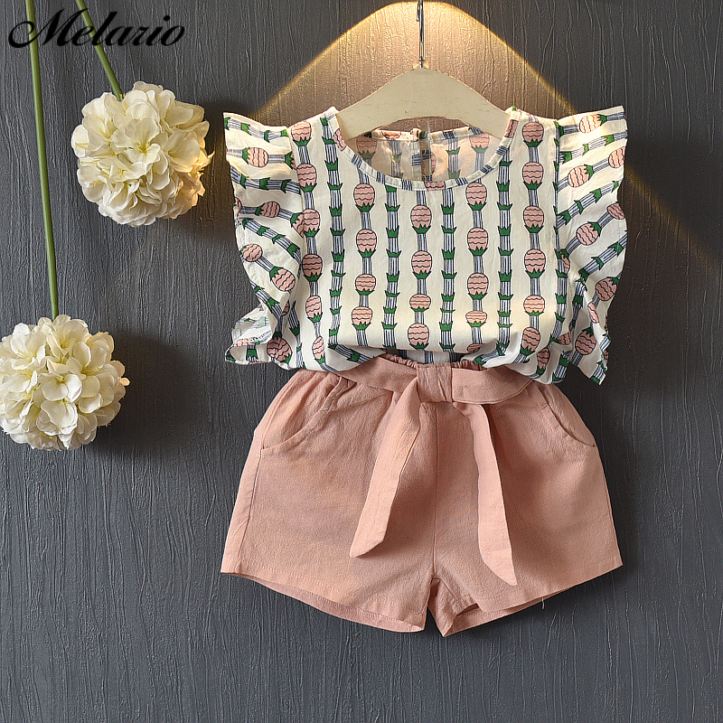 Melario Clothing Sets 2019 Children Clothing Sleeveless Bow T-shirt+Print Pants 2Pcs for Kids Clothing Sets Baby Girl suit(China)
