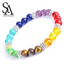 SA SILVERAGE Handmade Beaded Colorful Yoga Bracelet Natural 7 Colors Tiger Eye Stone Mens Energy Handset for Men Women