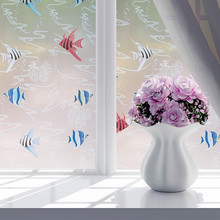 """45*200cm/17.7""""*78.6"""" Opaque Self-adhesive Frosted Privacy Glass Window Film&sticker Tropical Fish Pattern Bedroom ST022"""