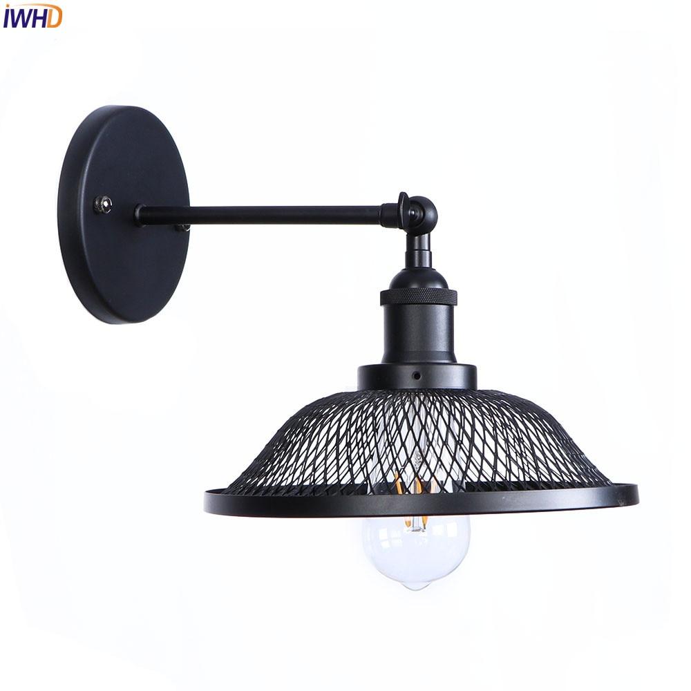купить IWHD Loft Style Black LED Wall Light Fixtures Home Lighting Stair Bar Bedroom Iron Edison Antique Wall Lamp Sconces Vintage по цене 1650.98 рублей