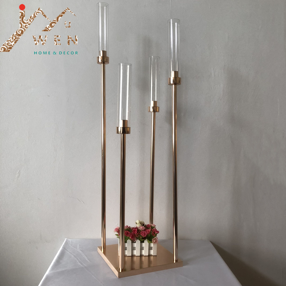10PCS Metal Candle Holders 4 Arms Candlestick Vases Wedding Table Centerpiece Candelabra Pillar Stand Road Lead Party Decoration